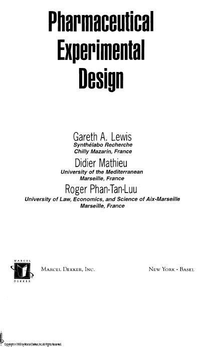 design of experiment handbook pharmatechnology