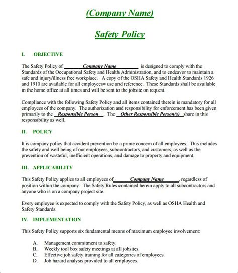 site specific safety plan template template design