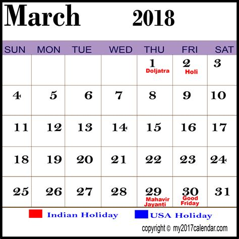 Calendar 2018 With All Holidays March 2018 Calendar With Holidays Printable Monthly
