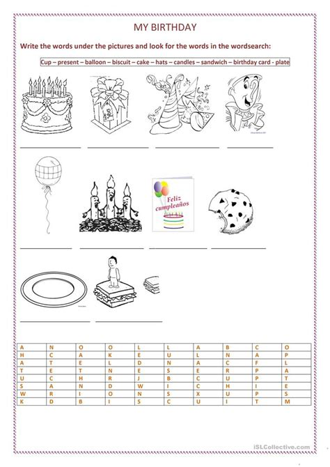 free printable english worksheets for reception my birthday party worksheet free esl printable