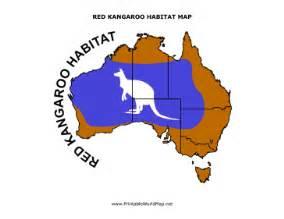 red kangaroo habitat map for kids
