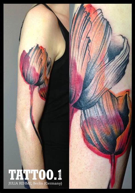 watercolor tattoo full sleeve 25 tulip images pictures and designs