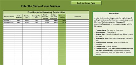 Food Cost Inventory Spreadsheet by Food Cost Inventory Spreadsheet