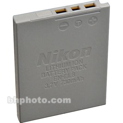 nikon en el8 lithium ion battery 3 7v 730mah 25688 b h photo