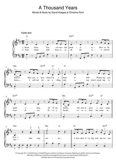 testo a thousand a thousand years partituras por perri piano