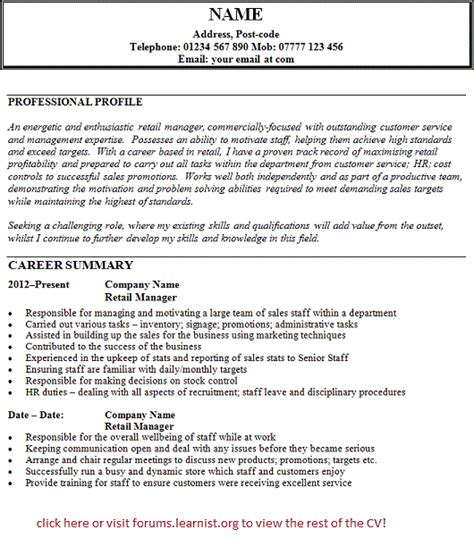 Retail Manager Cv Template Uk cv exles of retail research paper in outline format
