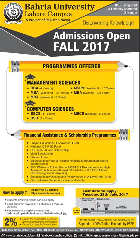 Uttarakhand Open Mba Admission 2017 by Admission Open In Bahria Lahore 17 July 2017