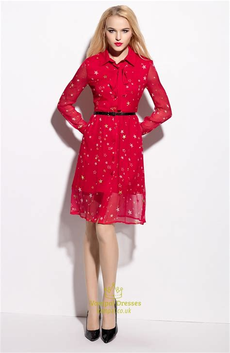 Sleeve Bow Shirt Dress sleeves bow tie chiffon shirt dress with belt