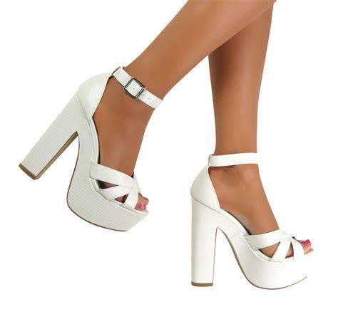 block heel high heels ankle peep toe platform chunky block high