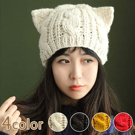 knit hat with ears muchushop rakuten global market crochet hat knit