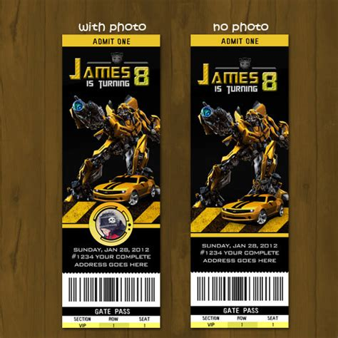 transformer invitation template transformers birthday ticket invitation by splashboxprintables