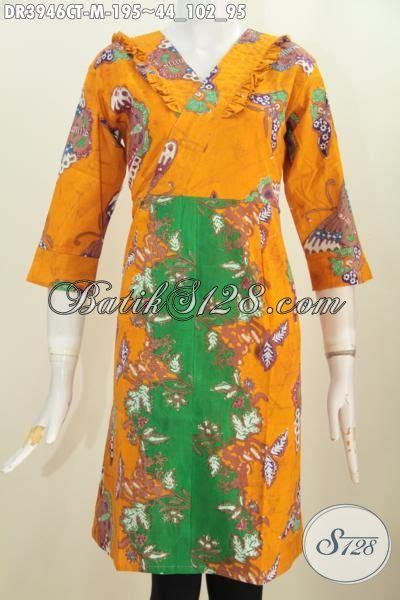 Topi Cantik Kuning Motif produk baju dress cantik warna kuning kombinasi hijau busana batik kwalitas premium model