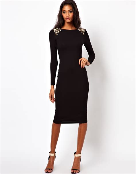 Black Shoulder Dress lyst asos embellished shoulder dress in black