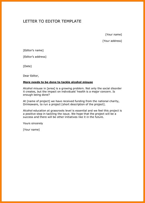 Formal Letter To Editor Formal Letter Template 8 Formate Of Letter To Editor Lease Template