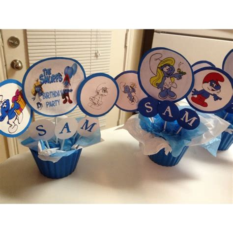 smurfs centerpiece crafts pinterest centerpieces