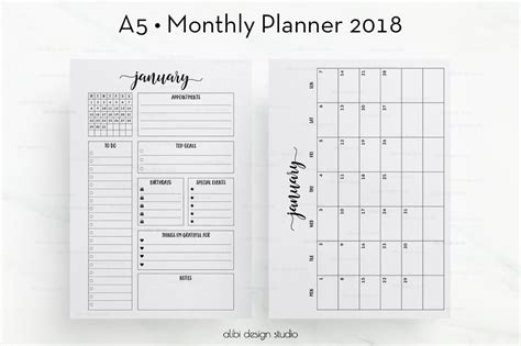 printable planner 2018 a5 2018 monthly planner a5 planner inserts month at a glance