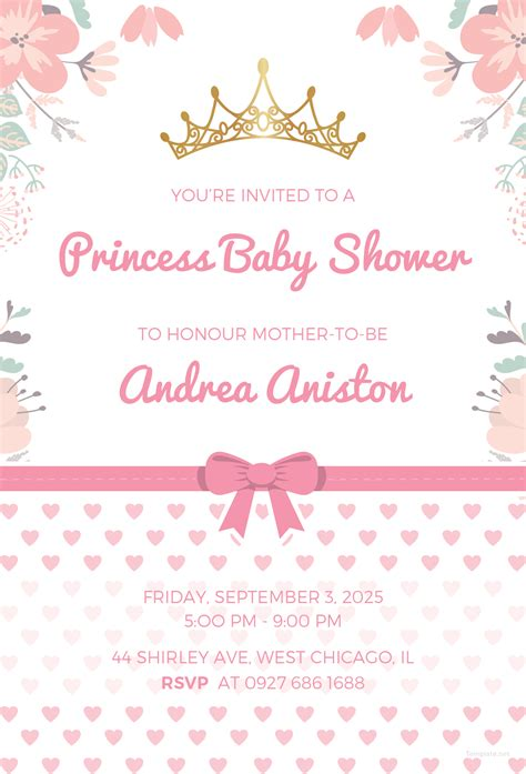 Free Princess Baby Shower Invitation Template In Microsoft Word Microsoft Publisher Adobe Princess Baby Shower Invitation Templates Free