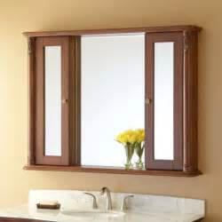 solid wood medicine cabinet with mirror modern style