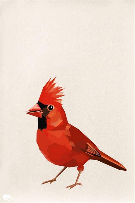 red cardinal geometric minimal bird tinykiwi prints