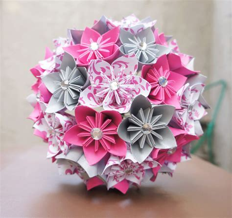 Origami Flower Wedding Bouquet - custom wedding kusudama origami paper flower package