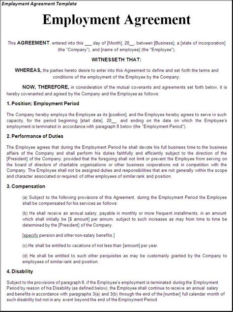 work agreement template employment agreement template