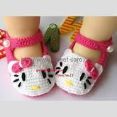 Handmade Hand Knit Crochet Baby Shoes Booties with hello kitty theme ...