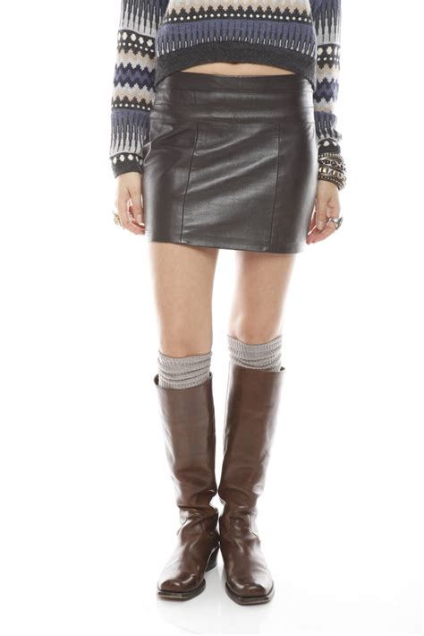 Shoo Bsy Brown castillo brown leather mini skirt from