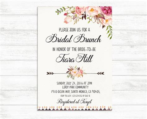 when should wedding shower invitations be mailed bridal brunch invitation printable bridal invite floral