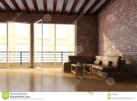 Minimalist Floor Plans loft interior with brick wall stock image image 27803881