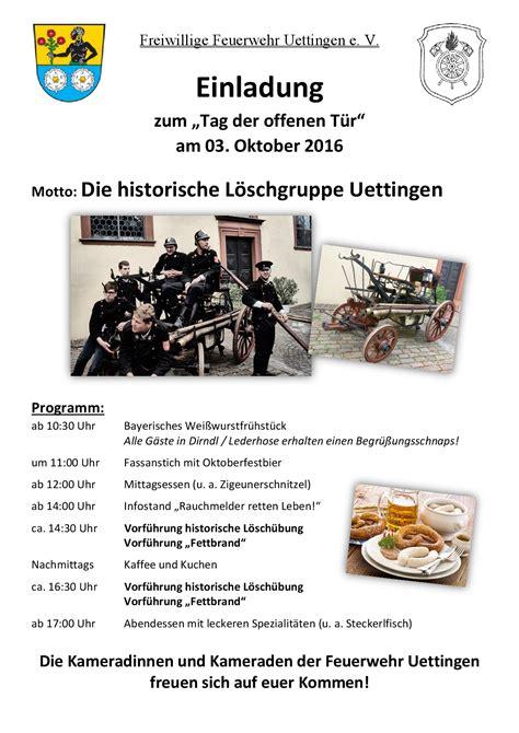 Musterbrief Einladung Tag Der Offenen T R Einladung Zum Tag Der Offenen T 252 R 2016 Ff Uettingen