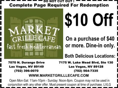 printable grocery coupons las vegas market grille cafe las vegas discount coupon