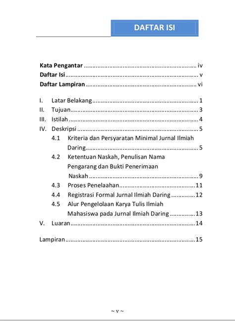 format daftar isi buku buku panduan jurnal ilmiah dalam jaringan daring ipb