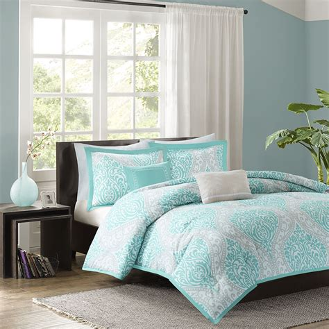 aqua comforter full beautiful chic aqua teal light blue grey comforter set