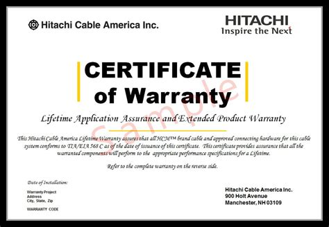 Guarantee Certificate Card Template Word by Installer Certification Lifetime Warranty Hitachi Cable