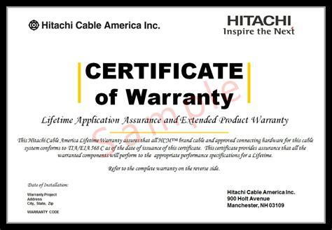 certificate of guarantee template installer certification lifetime warranty hitachi cable