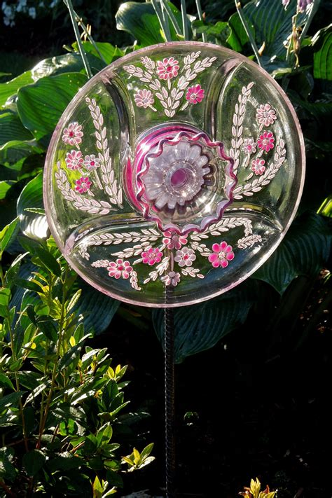 Glass Plate Garden Flowers Garden Sun Catcher Glass Plate Flower Garden By Glassblooms