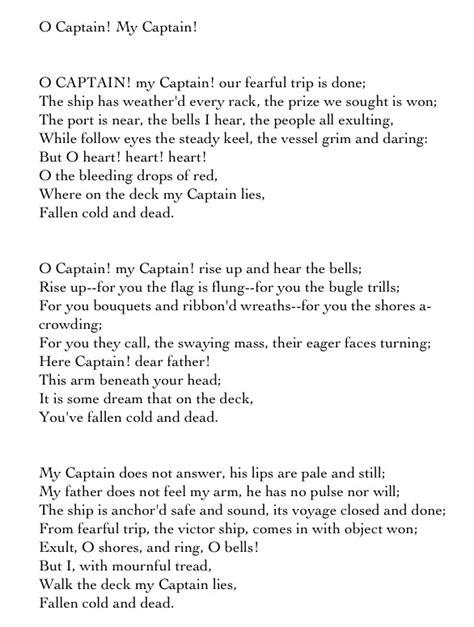 O Captain My Captain Essay by O Captain My Captain Essay