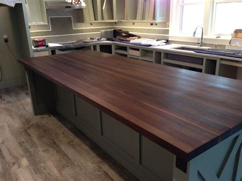 custom made walnut butcher block island top by