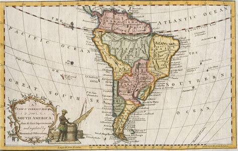 map of the us during the 1700s small map of south america maker unknown 1700s