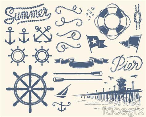 nautical designs painted nautical design elements vector free