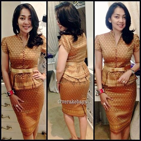 Top Kuning Rok Batik R4364 songket dress from vera kebaya fashion batik songket