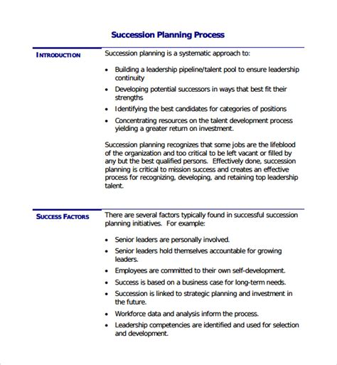 sle succession plan template 9 free documents in pdf