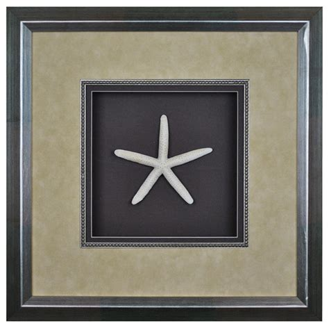 Shadow Box Wall Decor by Elizabeth Collection White Starfish Shadow Box
