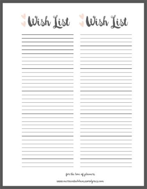 wish list template free printable 17 best ideas about list printable on