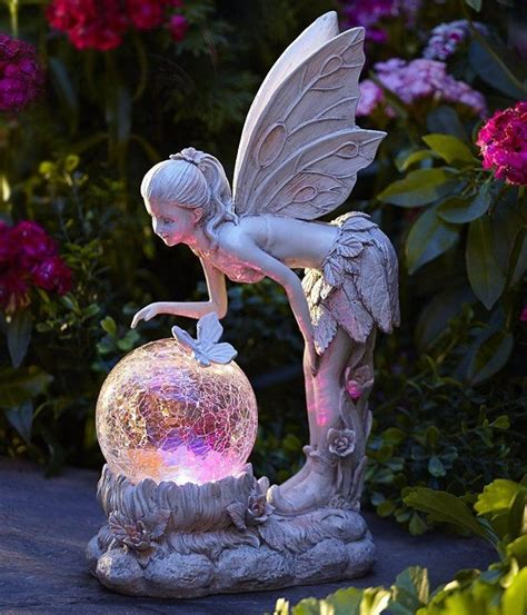 angel solar lights outdoor solar light globe fairy statue color changing angel garden