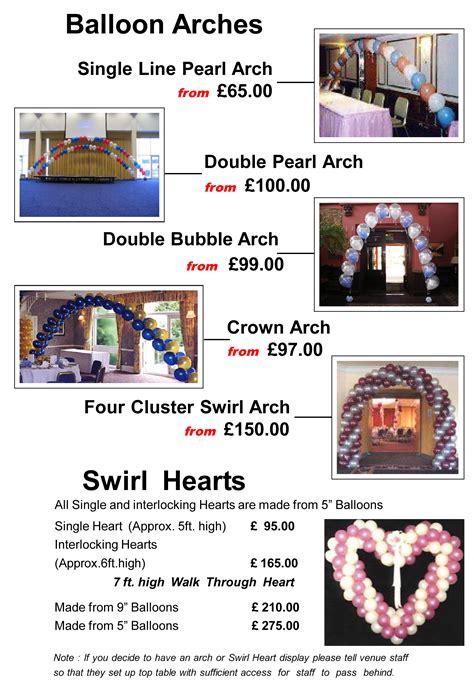 Balloon Decorations Prices by Balloon Decor Price List Matthew Lewis Displays