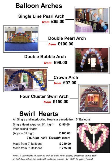 Balloon Decor Price List   Matthew Lewis Displays