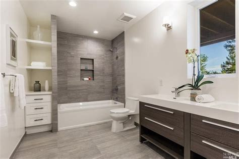 full in bathroom contemporary full bathroom with built in bookshelf wall
