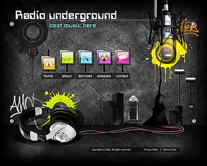 radio underground flash website template best website