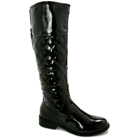 knee high black heel boots buy mimosa block heel quilted knee high boots